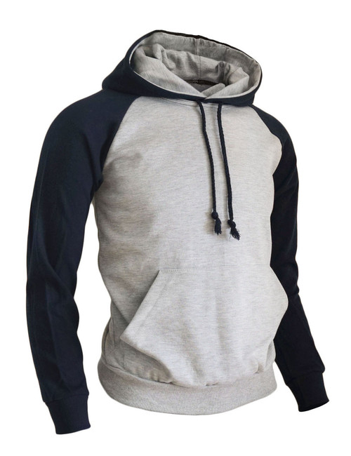 BCPOLO Casual Men Hoodie t- shirt 2 tone Raglan hoodie t-shirt (gray)