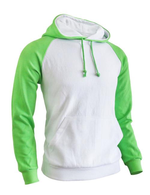 BCPOLO Casual Men Hoodie t- shirt 2 tone Raglan hoodie t-shirt (green)