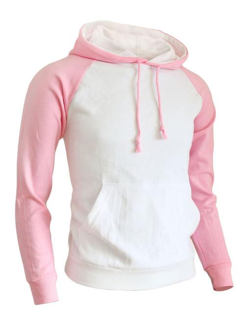 BCPOLO Casual Men Hoodie t- shirt 2 tone Raglan hoodie t-shirt (pink)