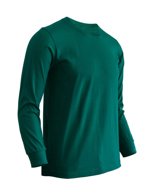 Basic Green Crew Neckline Long Sleeves Cotton T-Shirt