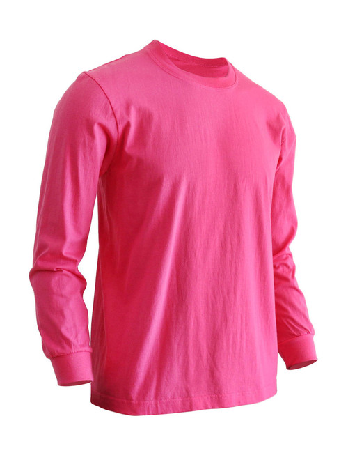 Basic Hot Pink Crew Neckline Long Sleeves Cotton T-Shirt