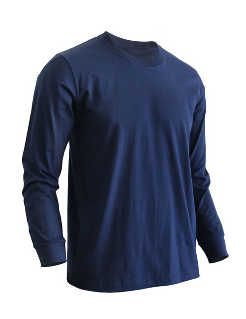 Basic Navy Crew Neckline Long Sleeves Cotton T-Shirt
