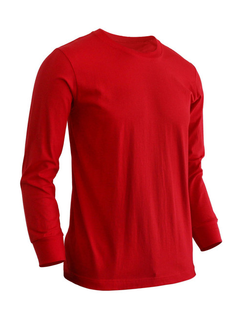 Basic Red Crew Neckline Long Sleeves Cotton T-Shirt