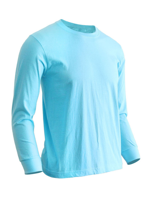 Basic Mint Crew Neckline Long Sleeves Cotton T-Shirt