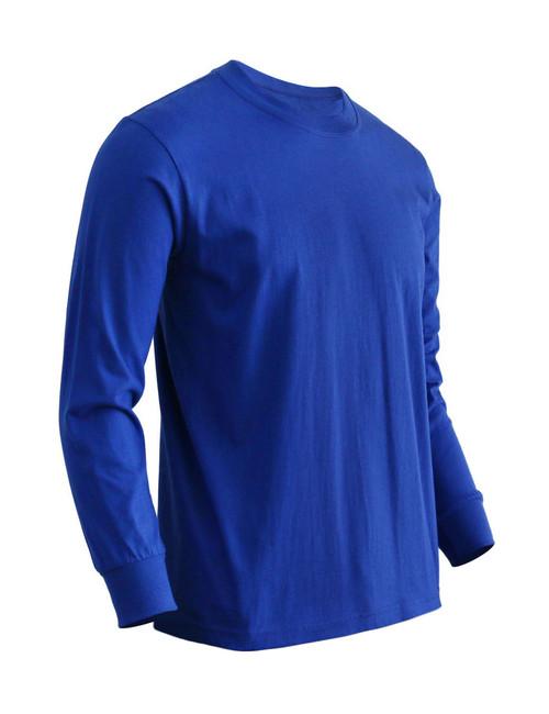 Basic Cobalt Blue Crew Neckline Long Sleeves Cotton T-Shirt