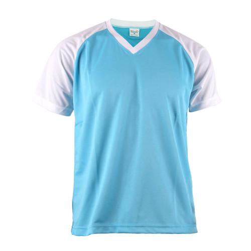 Casual 2 Tone Aqua Blue V-Neck T-Shirt Raglan Short Sleeve Shirt