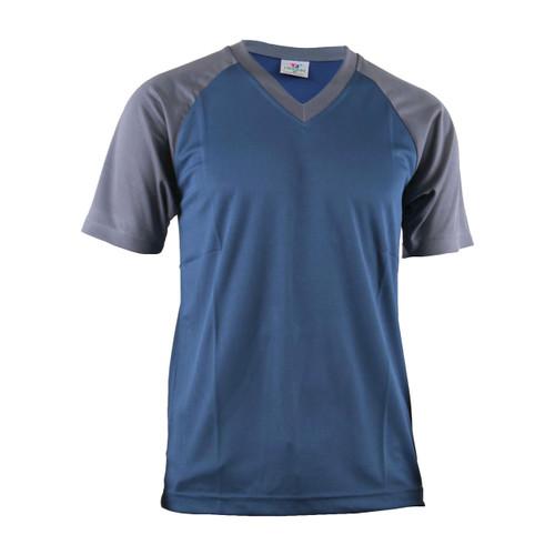Casual 2 Tone Navy bule V-Neck T-Shirt Raglan Short Sleeve Shirt