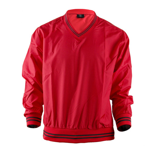 BCPOLO Red Windbreaker Pull Over V-Neck Long Sleevers Jacket