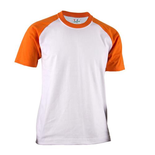 BCPOLO Casual  2 Tone White-Orange Raglan Crew Neck Short Sleeves Shirt