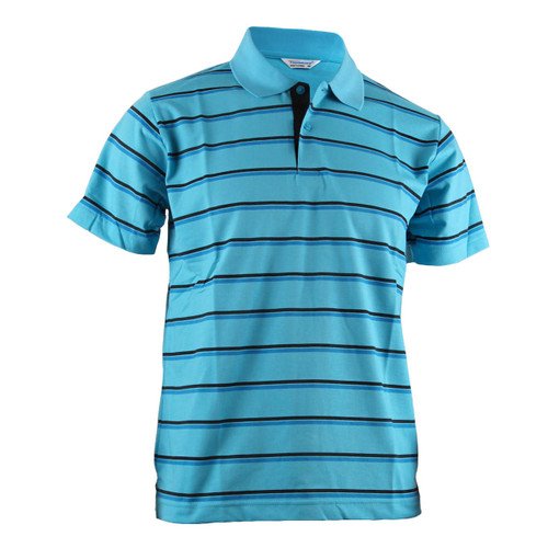 BCPOLO AQUA BLUE STRIPED CASUAL SHORT SLEEVES POLO SHIRT