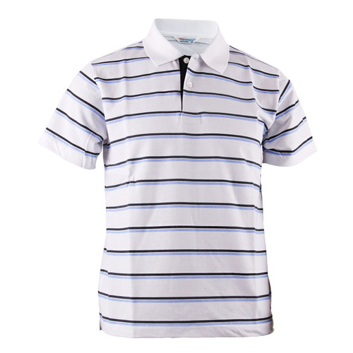 BCPOLO BLUE STRIPED CASUAL WHITE SHIRT SHORT SLEEVES POLO SHIRT