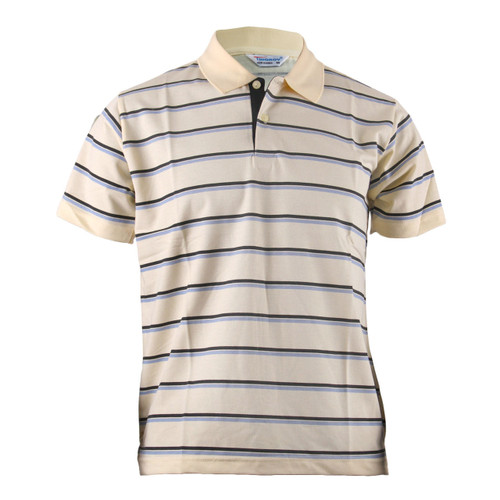 BCPOLO BLUE STRIPED CASUAL YELLOW SHIRT SHORT SLEEVES POLO SHIRT
