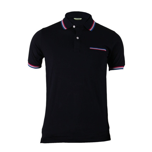 Stylish Black 3 Color Line Design Short Sleeve Polo Shirt