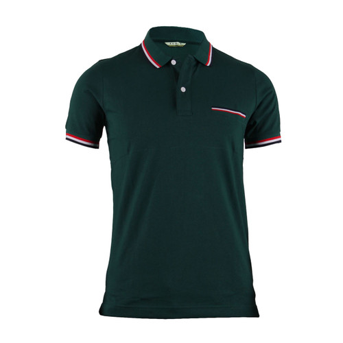 Stylish Green 3 Color Line Design Short Sleeve Polo Shirt