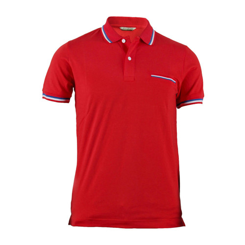 Stylish Red 3 Color Line Design Short Sleeve Polo Shirt