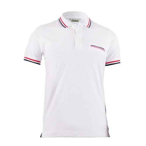 Stylish White 3 Color Line Design Short Sleeve Polo Shirt