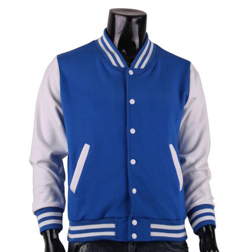 New Unisex Baseball Varsity Blue&White Cotton Jacket
