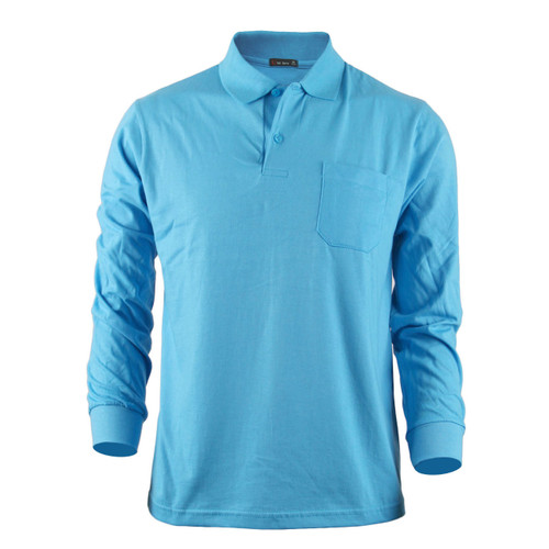 Bcpolo Men's Long Sleeves Cotton Solid Polo Shirt_Aqua