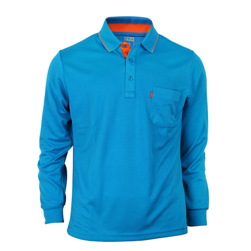 Bcpolo Man's Long Sleeve Polo Shirt_Blue