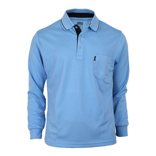 Bcpolo Man's Long Sleeve Polo Shirt_Sky Blue