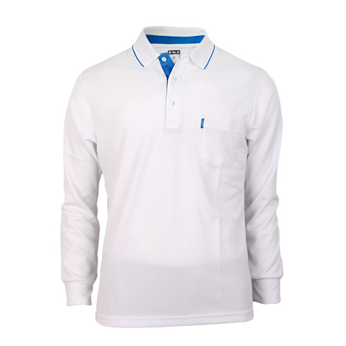Bcpolo Man's Long Sleeve Polo Shirt_White