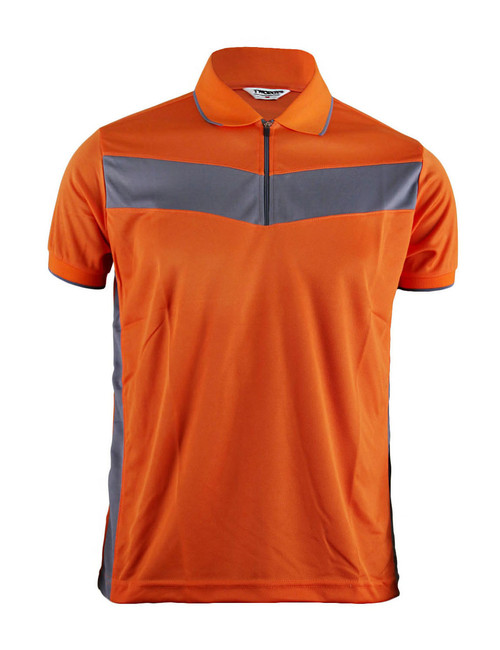 Polo Short Sleeves Zip Up Shirt Of Unique Design_Orange