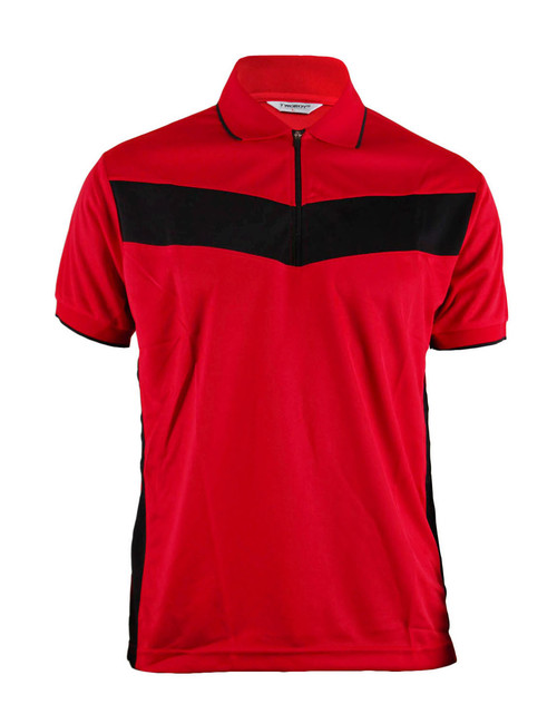 Polo Short Sleeves Zip Up Shirt Of Unique Design_Red