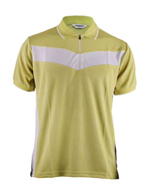 Polo Short Sleeves Zip Up Shirt Of Unique Design_Yellow Green