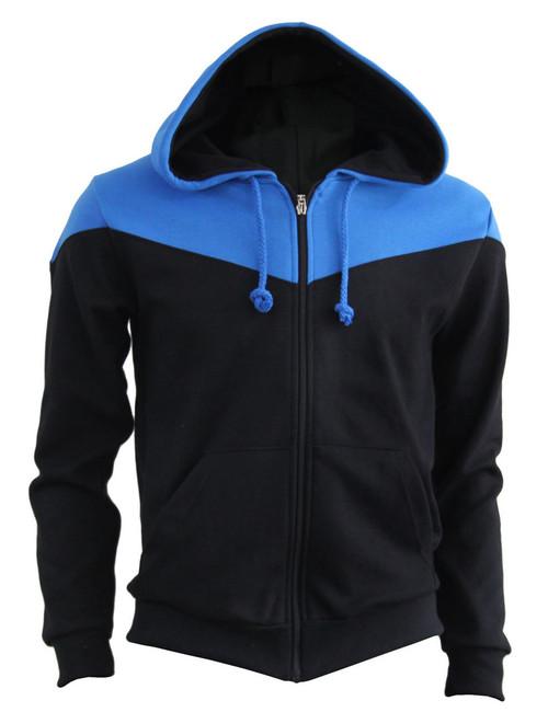 BCPOLO 2 Tone Zip Up Long Sleeves Fleece Hoodie_BLACK-BLUE