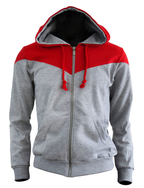 BCPOLO 2 Tone Zip Up Long Sleeves Fleece Hoodie_GREY-RED