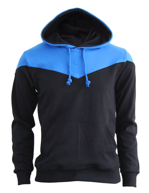 BCPOLO 2Tone Zip Up Long Sleeves Fleece Pullover Hoodie_BLACK-BLUE