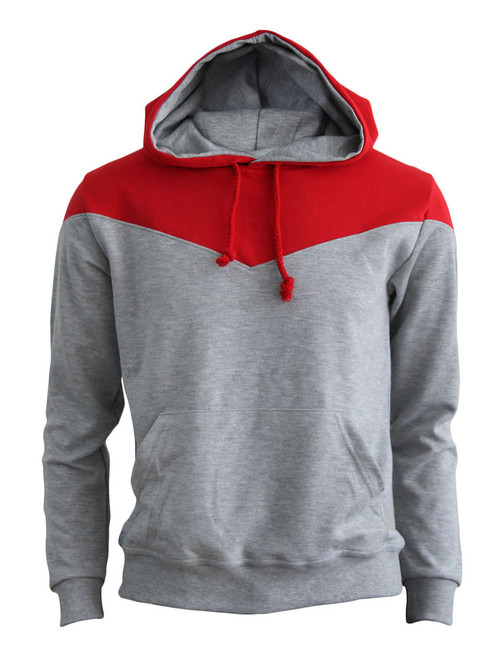 BCPOLO 2Tone Zip Up Long Sleeves Fleece Pullover Hoodie_GREY-RED