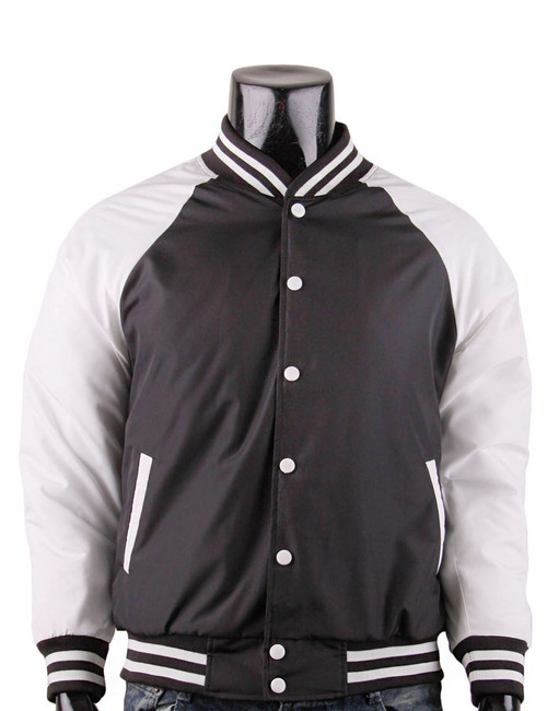 BCPOLO Varsity Baseball Jacket Lightweight Jacket_BLACK