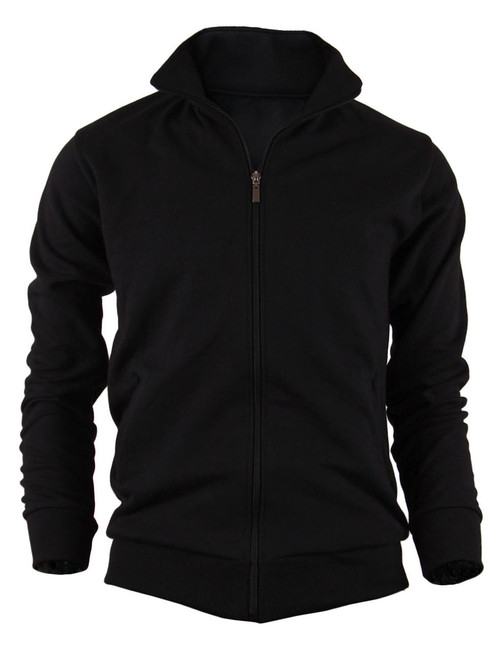 BCPOLO Cotton Jersey Full Zip Cotton Black Jacket