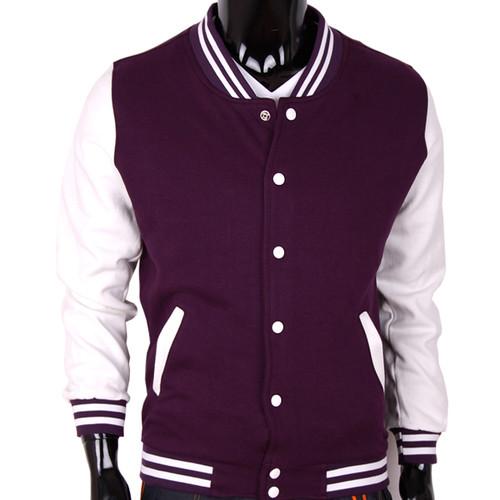 Bcpolo Baseball Jacket Varsity Jacket Purple Cotton Baseball Jacket