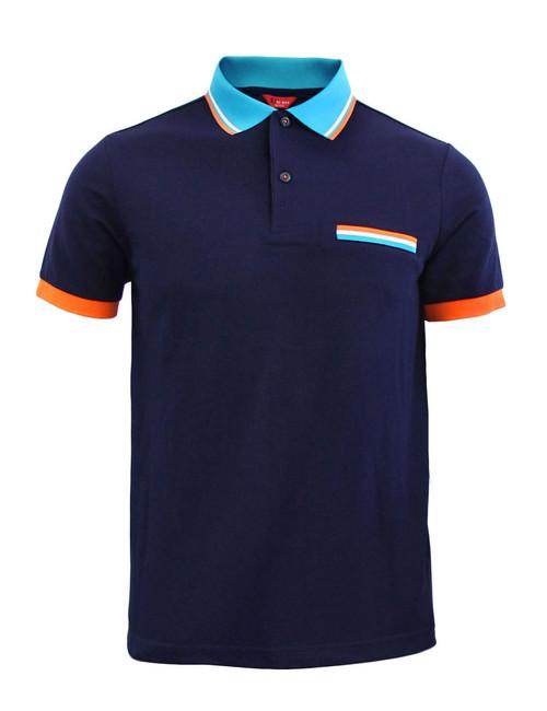 BCPOLO Sportswear Solid Navy Polo Shirt Short Seeve Golfwear
