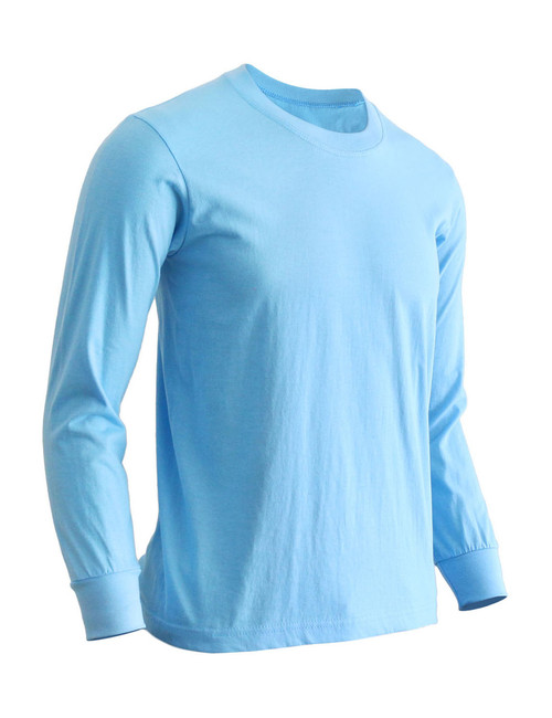 Basic Sky blue Blue Crew Neckline Long Sleeves Cotton T-Shirt