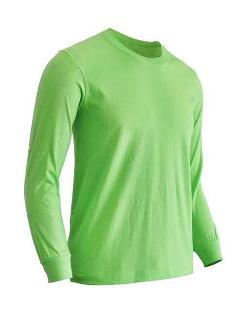 Basic Light green Crew Neckline Long Sleeves Cotton T-Shirt
