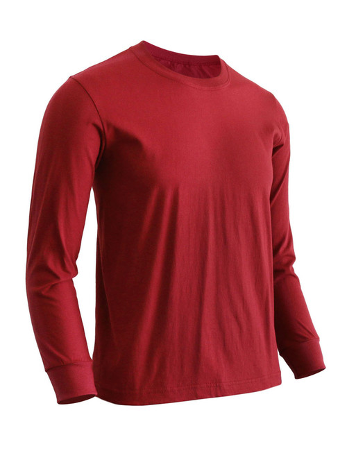 Basic Maroon Crew Neckline Long Sleeves Cotton T-Shirt