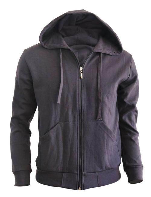 BCPOLO zipper hoodie jumper Zip-Hoodie, Solid Cotton Zip-up hoodie jacket-Charcoal