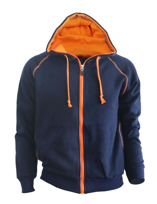 Casual Zip-Hoodie jumper Two tone paint color Hoodie zip-up. (Navy)