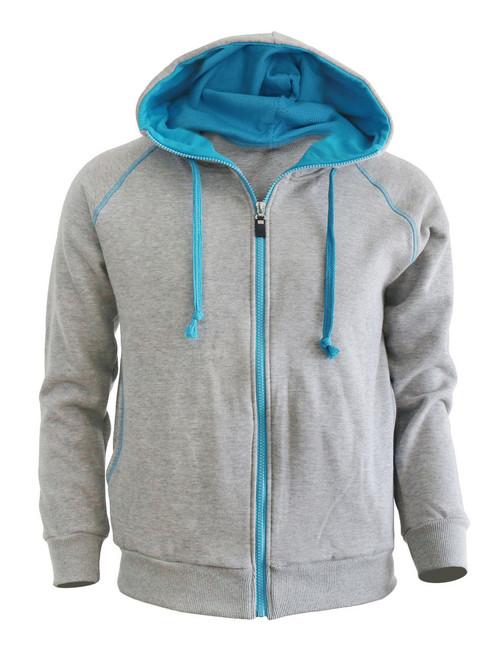 Casual Zip-Hoodie jumper Two tone paint color Hoodie zip-up. (Gray)