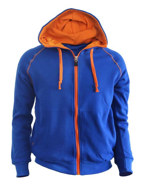 Casual Zip-Hoodie jumper Two tone paint color Hoodie zip-up. (blue)
