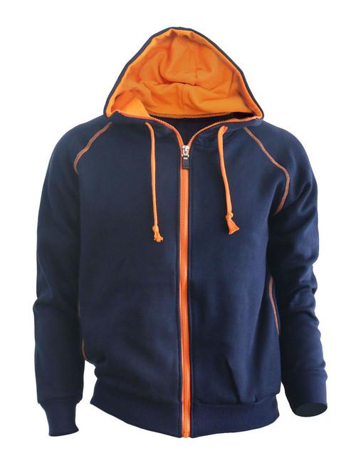 Casual warm sweat zip-Hoodie jumper of orange color hoodie zip-up jacket. (Navy)