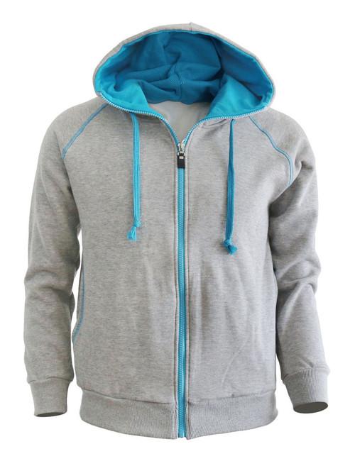 Casual warm sweat zip-Hoodie jumper of blue color hoodie zip-up jacket. (Gray)