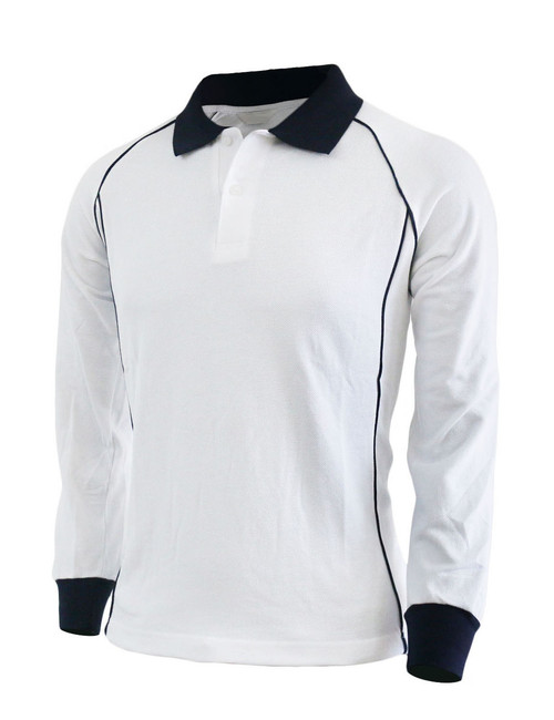Casual unisex sportswear unique design long sleeve polo shirt-white