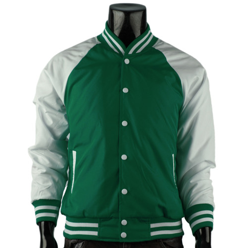 Varsity Quilted Lightweight Baseball Jacket_GREEN