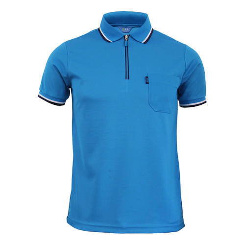 Light-blue Polo zip-up neck t-shirt short sleeves polo shirt