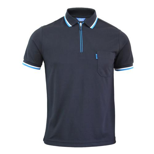 Navy Polo zip-up neck t-shirt short sleeves polo shirt.