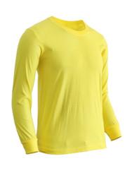 Basic Yellow Blue Crew Neckline Long Sleeves Cotton T-Shirt
